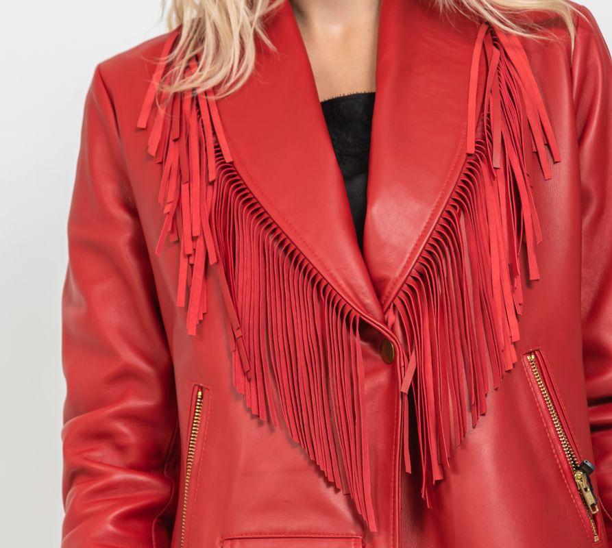 chaqueta piel flecos roja