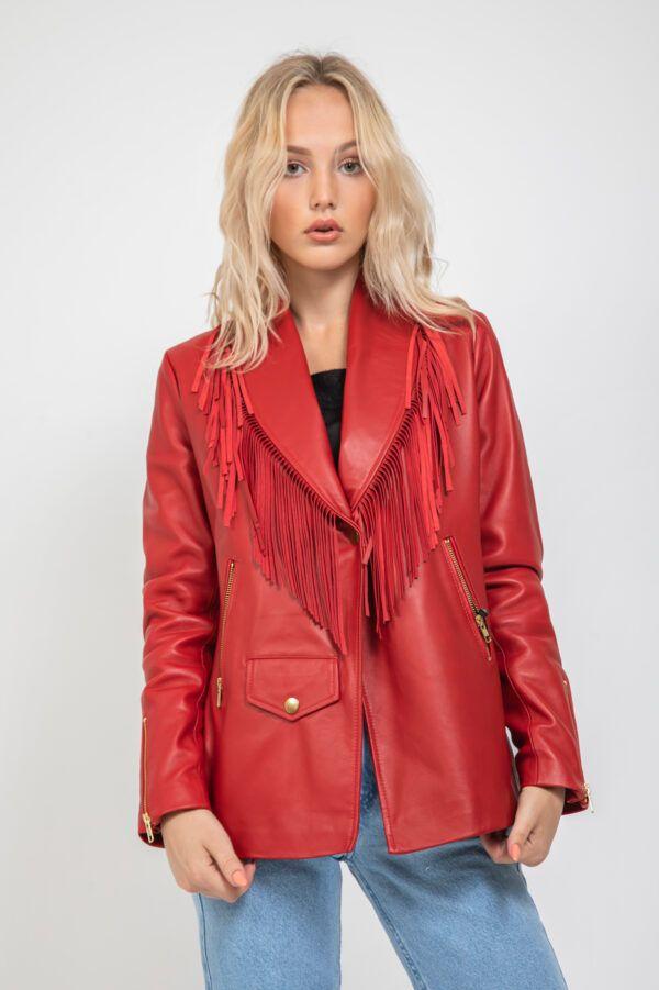 chaqueta piel roja flecos