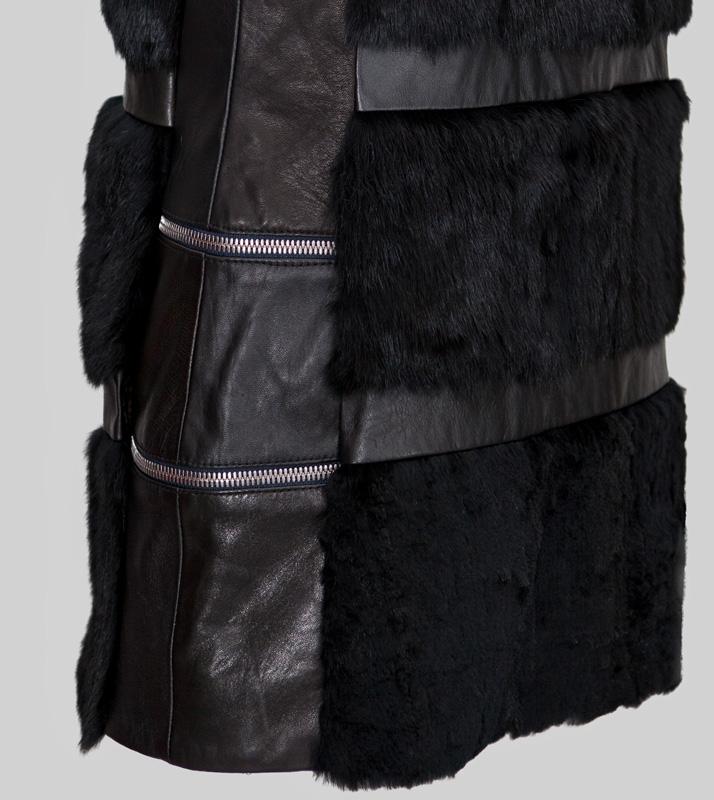 chaleco greta napa y pelo blanco y negro