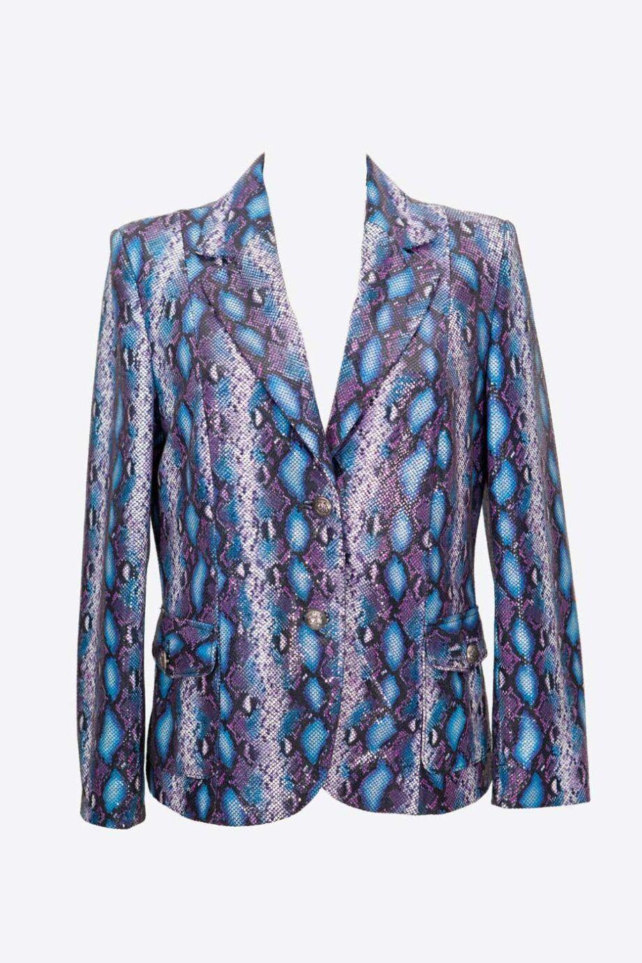 chaqueta blazer animal print azul