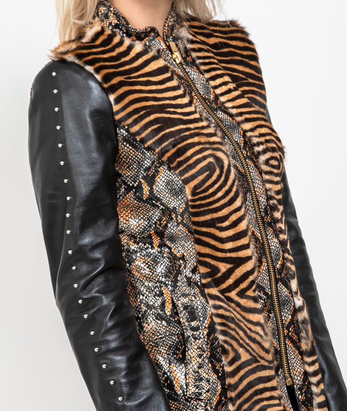 chaqueta de cuero estampado tigre