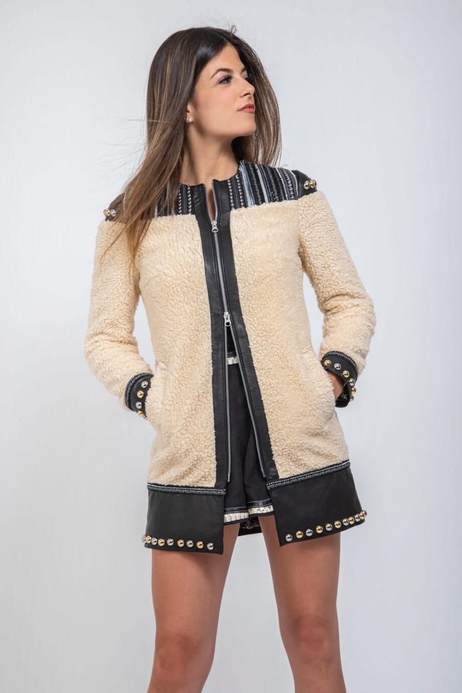 abrigo de cuero y borreguillo
