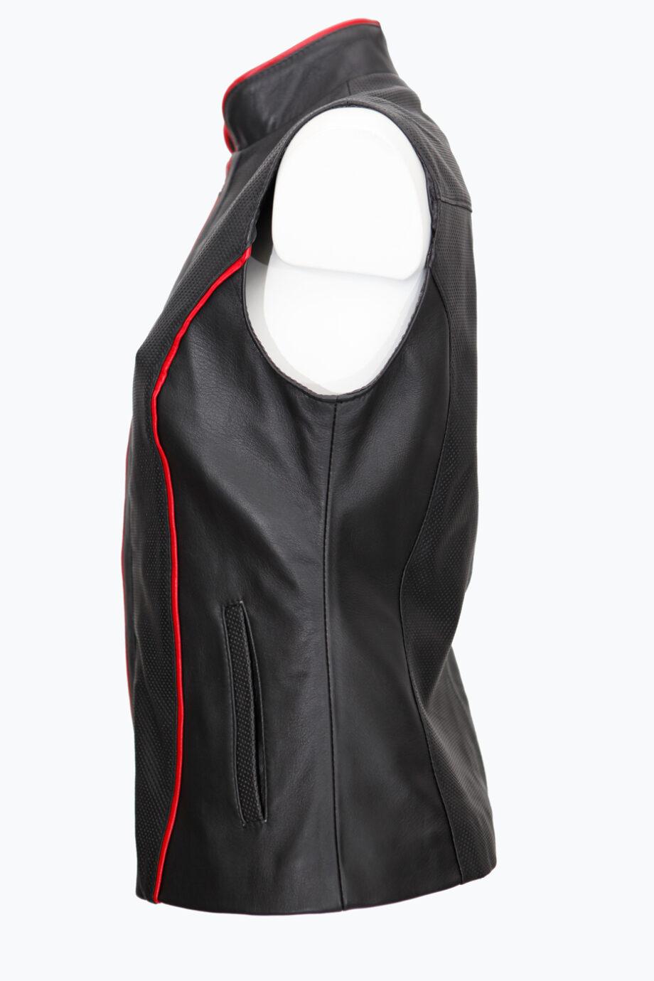 chaleco cuero negro rojo