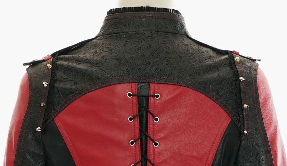 cazadora cuero roja y negra
