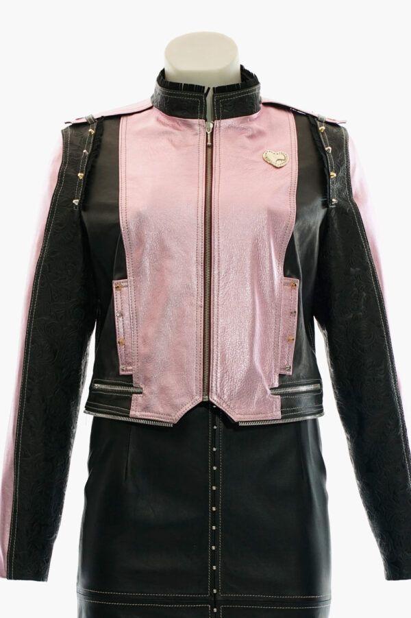 cazadora cuero rosa negro