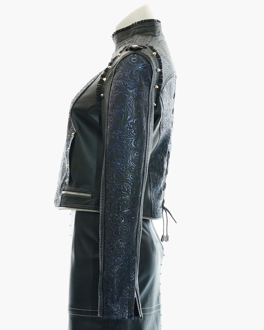 cazadora cuero azul negro