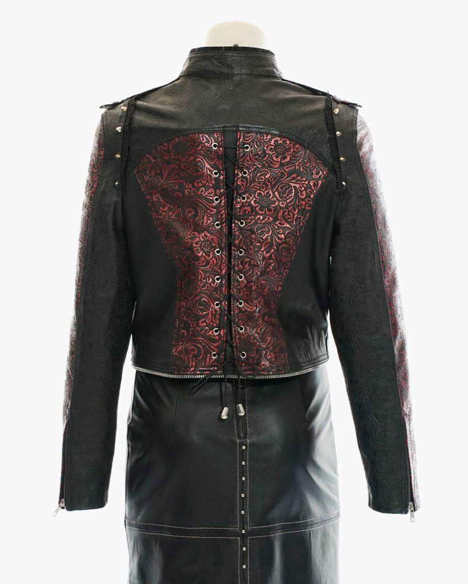 chaqueta roja grabado vintage