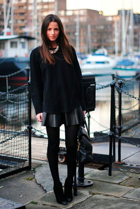 combinar falda de cuero total black